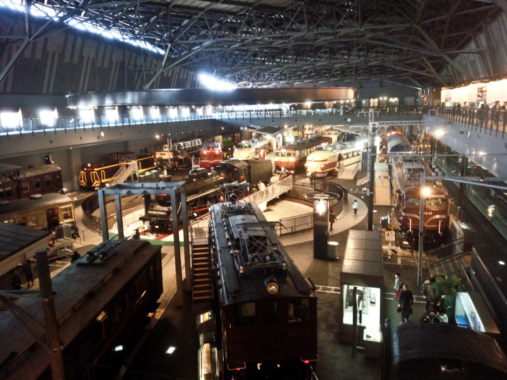 The rail yard from the other side. The Imperial trains are behind the glass to the right on the ground floor.