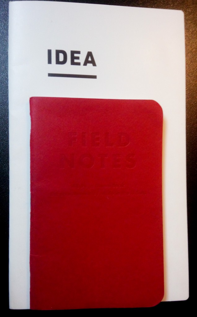 The IDEA notebook compared with a Field Notes notebook.