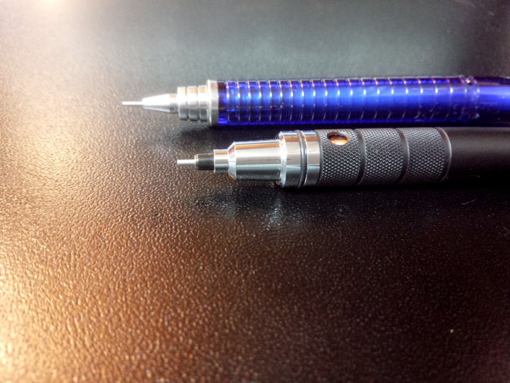 The Pilot S3 (top) and the UNI Kurutoga Roulette. That Kurutoga looks scary.