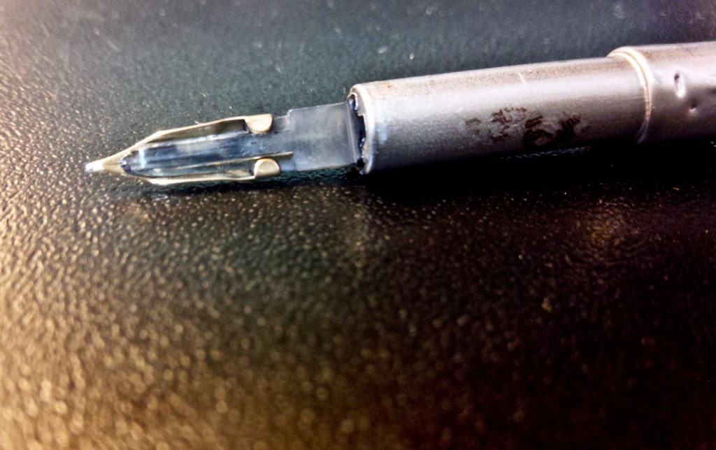 The underside of the nib. You can see the surprisingly cool clear feed.