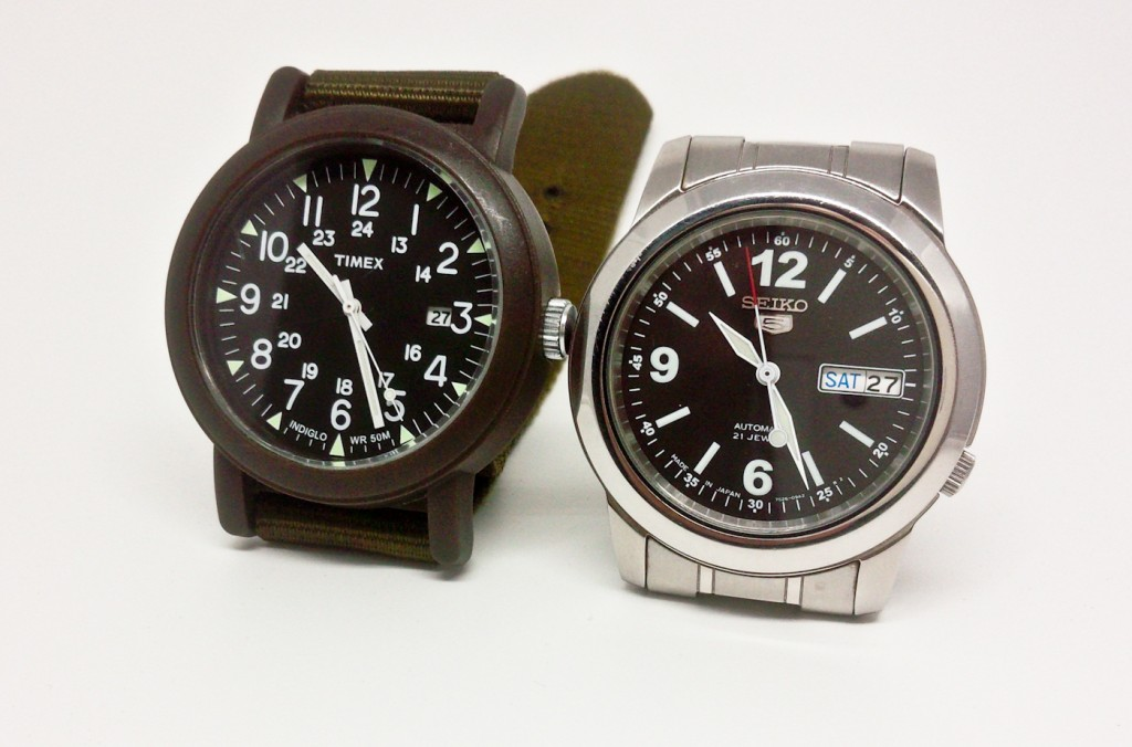The new watches: the Timex Weekender on the left and the Seiko 5 on the right.