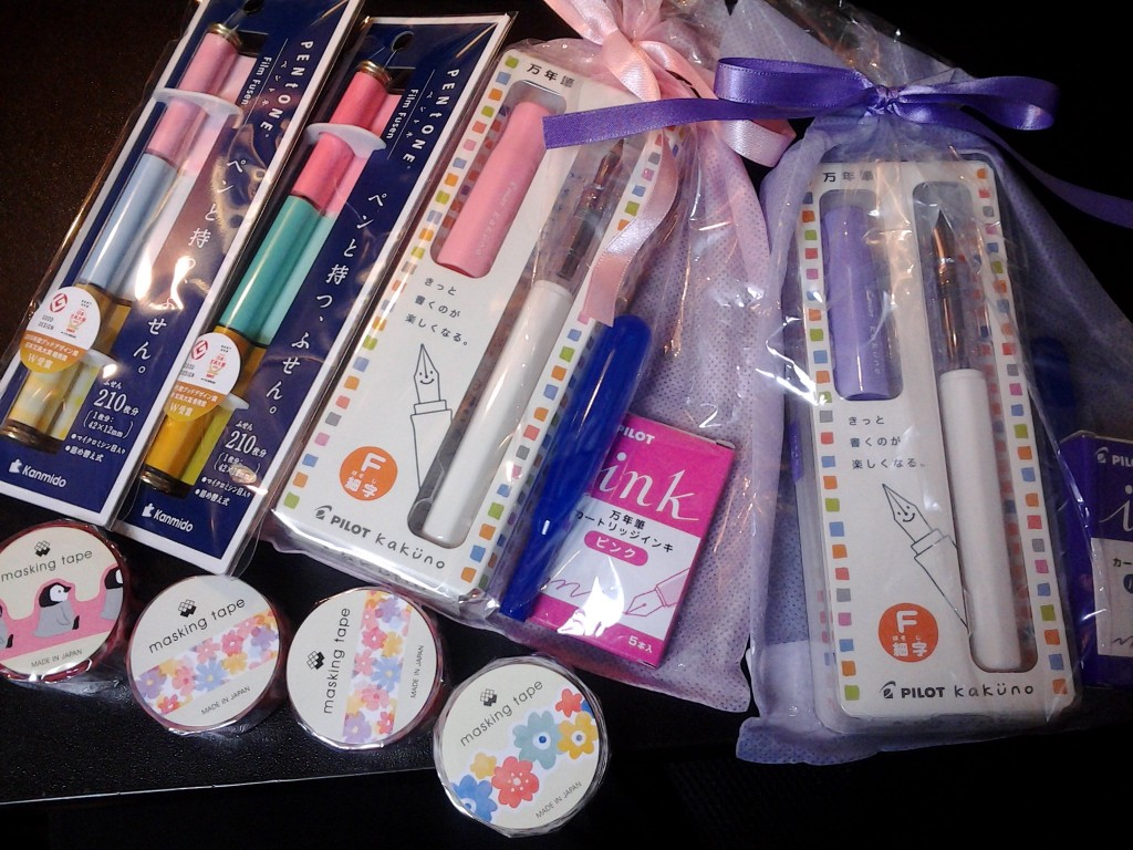 The stocking stuffers. Kakuno pens, Pentone notes and annoyingly cute masking tape.