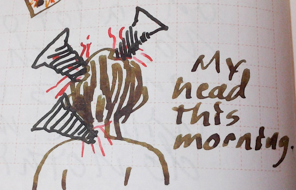 How my head felt this morning. The screws and the pain are to scale.