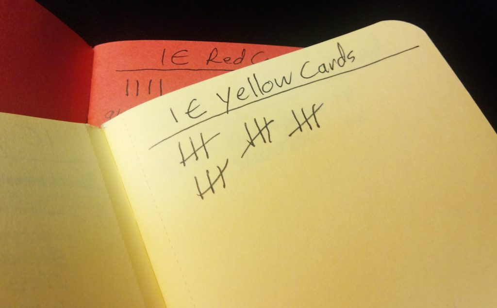 The yellow and red card are noted. When three yellows become a red, they get crossed out.